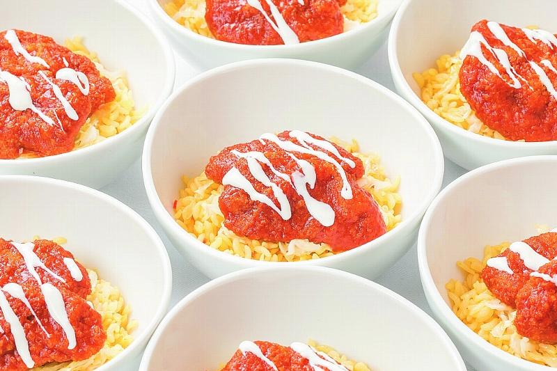 ⑬【洋】豚フィレカツの デミ・MISO・ソース丼