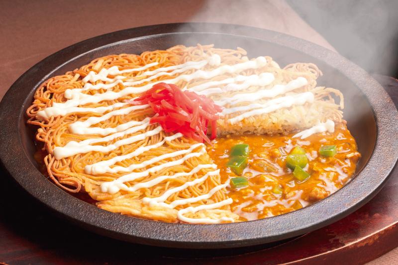 松本鉄板咖喱浮麺マヨネーズソース掛け