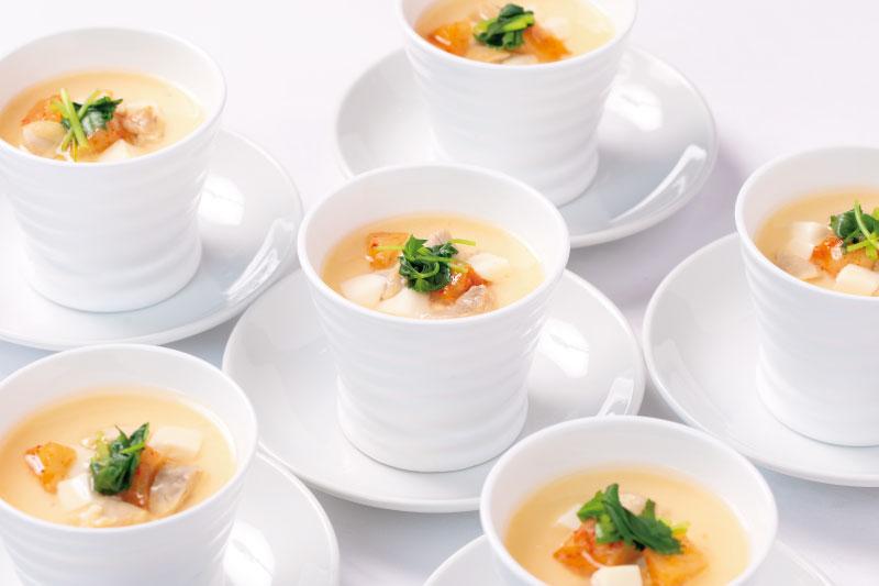 4.前菜(和) 変わり茶椀蒸し(茶碗蒸し/チーズ/鶏/カクテキ/三つ葉/銀餡)