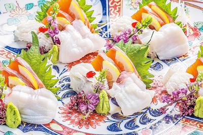 ⑪【和】お造り三点盛り サーモンレモン〆・鱧・水蛸