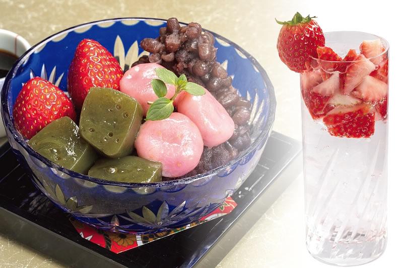 【料亭深志楼】和スイーツの王道「深志楼特製苺あんみつ」と、果汁の甘みと酸味が絶妙な「いちご焼酎」