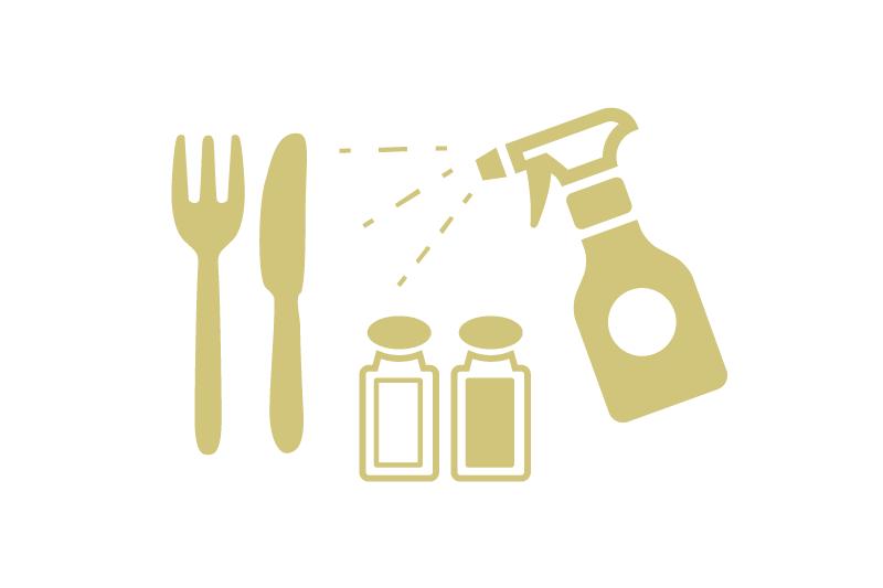 アルコールによる店内と備品の衛生管理徹底